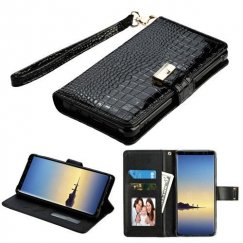 Samsung Galaxy Note 8 Black Crocodile-Embossed Wallet