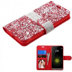 LG G5 Red Mini Crystals with Silver Belt Wallet