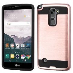 LG LG G Stylo 2 Plus Rose Gold/Black Brushed Hybrid Case