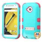 Motorola Moto E 2nd Gen Natural Teal Green/Electric Pink Hybrid Phone Protector Cover (with Stand)