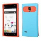 LG Optimus L9 Rubberized Baby Blue/Orange Back Case