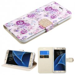 Samsung Galaxy S7 Edge Fresh Purple Flowers Diamante Wallet with Diamante Belt
