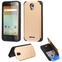 Alcatel One Touch Elevate Gold Inverse Advanced Armor Stand Case with Card Wallet