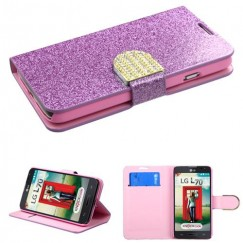 LG Optimus L70 Purple Glittering Wallet with Diamante Belt