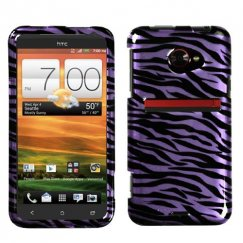 HTC EVO 4G LTE Zebra Skin Purple/Black 2D Silver Case