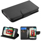 LG Optimus L70 Black Pattern/Black Liner wallet (with card slot)
