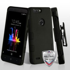 ZTE Blade Z Max / Sequoia Z982 Rubberized Black/Black Hybrid Case Military Grade with Black Horizontal Holster