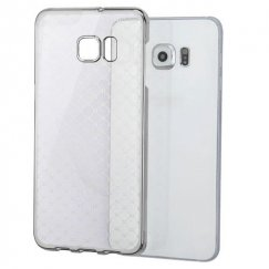 Samsung Galaxy S6 Edge Plus T-Clear Plaid Cross Back Case With Silver-Plating Frame