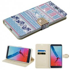 ZTE Blade Z Max / Sequoia Z982 Jumping Fishes Diamante Wallet with Diamante Belt
