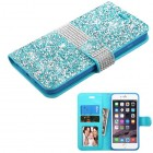 Apple iPhone 6/6s Plus Baby Blue Mini Crystals with Silver Belt Wallet