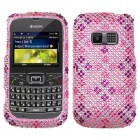 Kyocera Brio Plaid Hot Pink/Purple Diamante Case