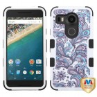 LG Nexus 5X Purple European Flowers/Black Hybrid Case