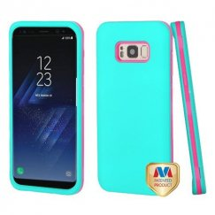 Samsung Galaxy S8 Rubberized Teal Green/Electric Pink Hybrid Case