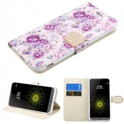 LG G5 Fresh Purple Flowers Diamante Wallet with Diamante Belt