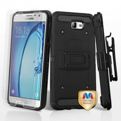 Samsung Galaxy On7 Black/Black 3-in-1 Kinetic Hybrid Case Combo with Black Holster and Twin Screen Protectors