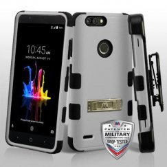 ZTE Blade Z Max / Sequoia Z982 Natural Gray/Black Hybrid Case with Stand and Black Horizontal Holster