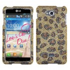 LG Spirit 4G Leopard Skin/Camel Diamante Protector Cover