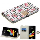 LG G Stylus 2 Pink Fresh Roses Diamante Wallet(with Diamante Belt)