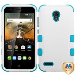 Alcatel One Touch Conquest Natural Ivory White/Tropical Teal Hybrid Case