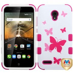 Alcatel One Touch Conquest Butterfly Dancing/Hot Pink Hybrid Case