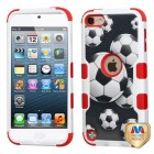 Apple iPod Touch (6th Generation) Soccer Ball Collage/Red Hybrid Protector Cover