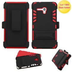 Alcatel One Touch Fierce XL Black/Red Advanced Armor Stand Case with Stand with Black Holster