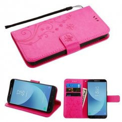 Samsung Galaxy J7 Hot Pink 3D Butterfly Flower Wallet(IM024) -NP