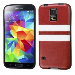 Samsung Galaxy S5 Brown/White Embossed Leather Backing Candy Skin Cover