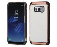 Samsung Galaxy S8 White Lychee Grain(Rose Gold Plating)/Black Astronoot Protector Cover