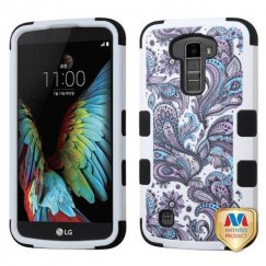 LG K10 Purple European Flowers/Black Hybrid Case