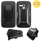 Motorola Moto E 2nd Gen Black/Black Advanced Armor Stand Protector Cover (With Black Holster)