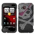 HTC Droid Incredible 4G LTE Skull Diamante Case