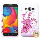 Samsung Galaxy Avant Spring Flowers/Solid White Hybrid Phone Protector Cover