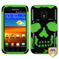 Samsung Epic 4G Touch (Galaxy S2) Solid Black/Electric Green Skullcap Hybrid Case