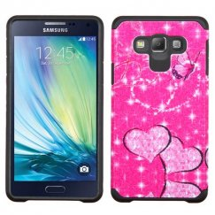 Samsung Galaxy A7 Glittering Butterfly/Heart(Hot Pink)/Black Advanced Armor Case