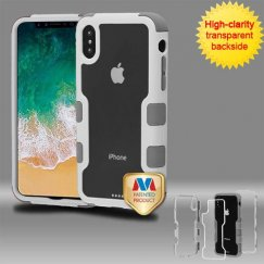 Apple iPhone X Natural Ivory White Frame PC Back/Iron Gray Vivid Hybrid Case
