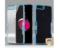 Apple iPhone 7 Plus Metallic Blue Coral Colored/Transparent Clear Panoview Hybrid Case