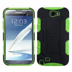 Samsung Galaxy Note 2 Black/Electric Green Car Armor Stand Case - Rubberized