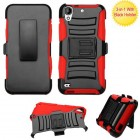 HTC Desire 626 Black/Red Advanced Armor Stand Protector Cover (With Black Holster)