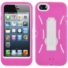 Apple iPhone 5 Hybrid Skin Case with Stand, Hot Pink with White Trim