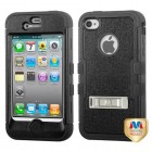 Apple iPhone 4/4s Natural Black/Black Hybrid Case with Stand
