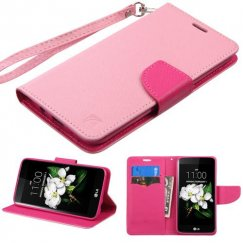 LG K7 Pink Pattern/Hot Pink Liner Wallet with Lanyard