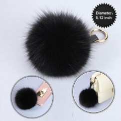 Cellphone Charm-Black Fox Fur Pom-Pom (Large)