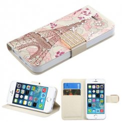 Apple iPhone 5/5s Eiffel Tower Diamante Wallet with Diamante Belt