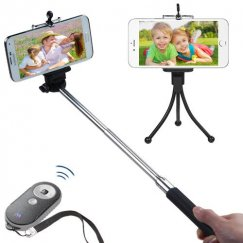 3-In-1 Selfie Package(Monopod Tripod Stand Black/Gray Selfie Stick)