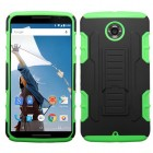 Motorola Nexus 6 Black/Electric Green Car Armor Stand Case - Rubberized