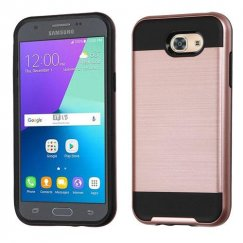 Samsung Galaxy J3 Rose Gold/Black Brushed Hybrid Case