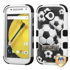 Motorola Moto E 2nd Gen Soccer Ball Collage/Black Hybrid Case with Stand