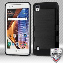 LG X Style / Tribute HD Black/Black Brushed Hybrid Case Military Grade