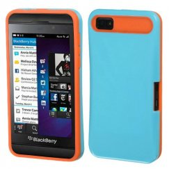 Blackberry Z10 Baby Blue/Orange Card Wallet Back Case